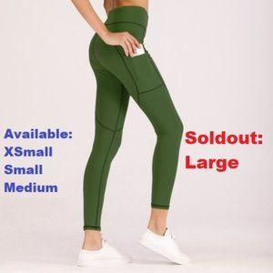 High Waist Green Leggings with pockets